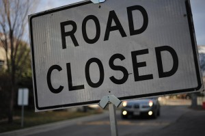 road closed sign, close up