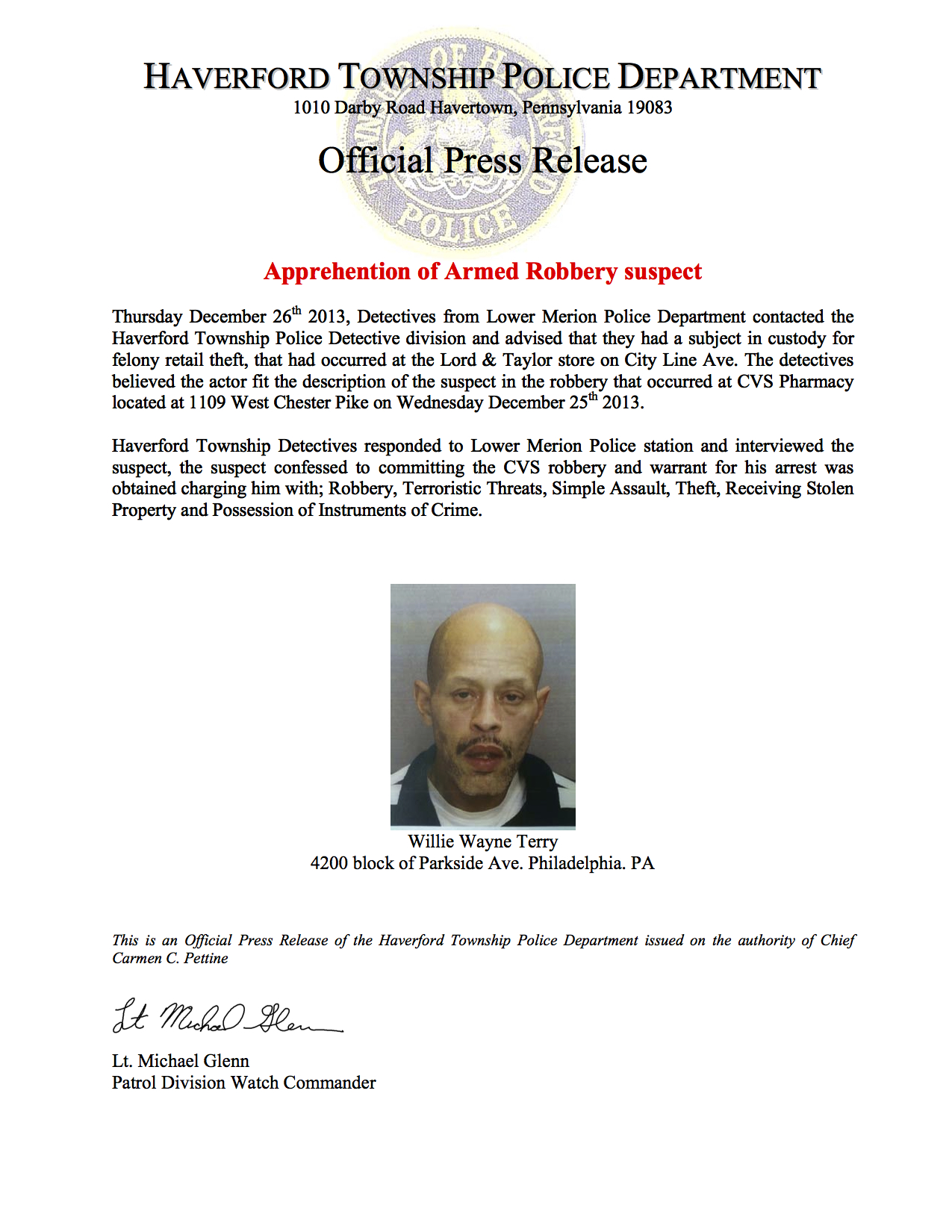 Press Release (Update) CVS armed robbery suspect apprehended