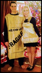 "My husband (who did eventually wear shoes) and I dressed as the Fragile Box and the Leg Lamp for a ""Xmas Crawl"" that ended up only including McGillicuddy's on Brookline."