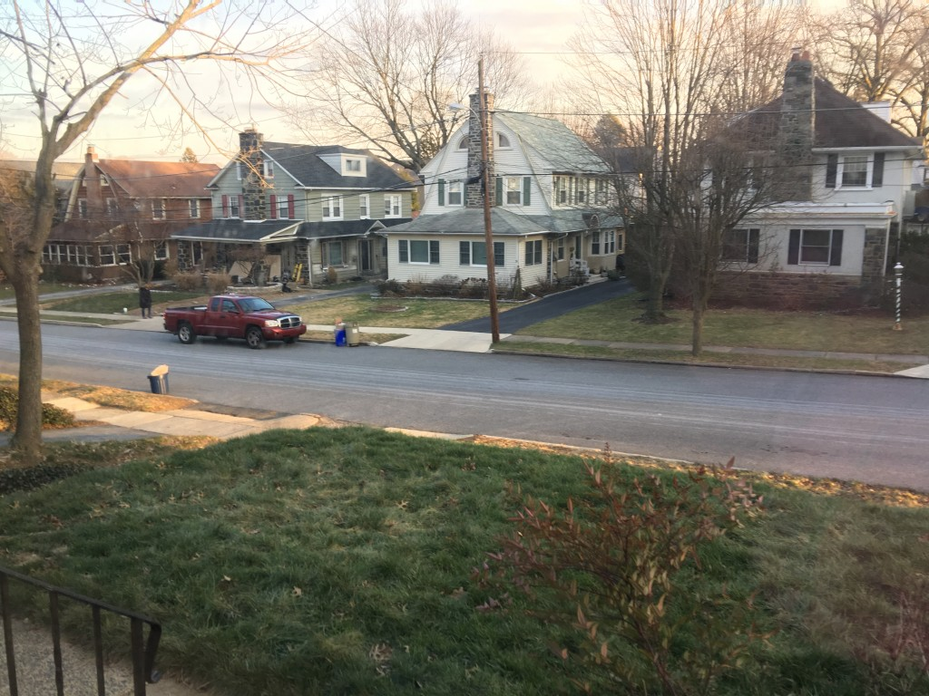 suburban street in winter, no snow
