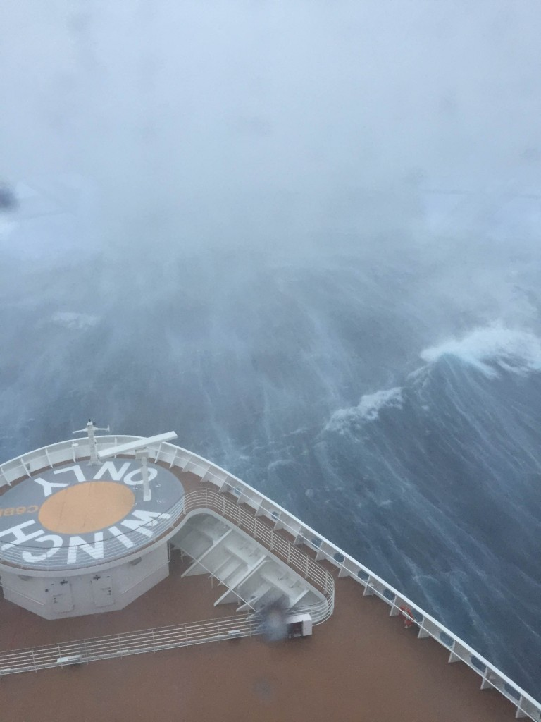 front of cruise ship in deep waves