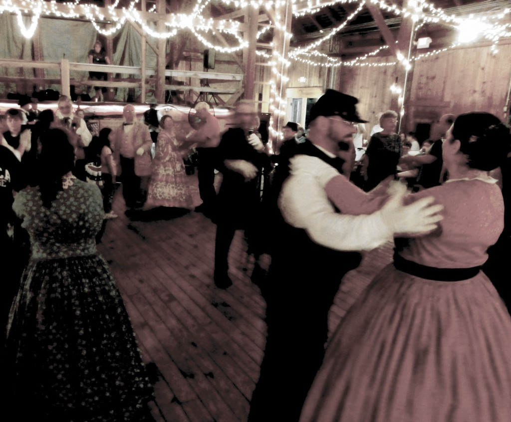 people dancing in civil war costumes