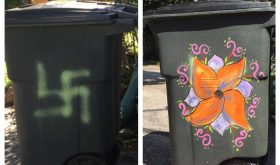 Someone painted a swastika on an H-Town mom's garbage can. Here's how our community is responding.