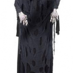 a grim reaper decoration, black ripped robes, skeleton face