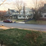 suburban street in winter, no snow