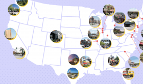 Cartoon map of US with superimposed pics on it depicting the different towns